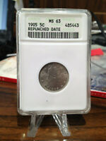 BEAUTIFUL 1905-5C REPUNCHED DATE LIBERTY V NICKEL MINT STATE 63 BY ANACS