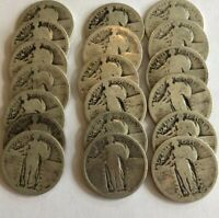 LOT OF 18 SILVER STANDING LIBERTY QUARTERS 90. GREAT COIN COLLECTION     L15