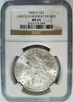 1898 O SILVER MORGAN DOLLAR NGC MINT STATE 65 LINCOLN HIGHWAY HOARD PEDIGREE COLLECTION