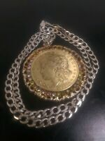 1899 MORGAN 90 GOLD PLATED SILVER DOLLAR NECKLACE PENDANT 15 GRAM 5.3MM CHAIN