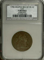 1796 1C DRAPED BUST, REVERSE OF 1795 PENNY -  EARLY UNITED STATES CENT NCS