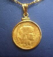 FRENCH 20 FRANCES 1910  GOLD COIN ROOSTER TYPE  SET WITHIN A  14K BEZEL PENDANT