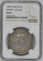 1887 GREAT BRITAIN DOUBLE FLORIN ARABIC 1 NGC MS61 HIGH VALUE CERT 2836414 016