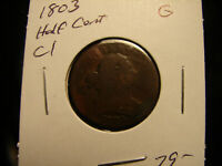 1803 DRAPED BUST 1/2 CENT, AS PICTURED.