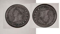1810 OVER 09, CLASSIC HEAD, LARGE CENT, VF - EXTRA FINE , - RECUT 'N' IN 'ONE', DIE CRACK