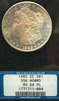 1882-CC GSA MORGAN DOLLAR, NGC MINT STATE 64PL FROM GSA HOARD WITH OBVERSE GOLD TONING