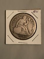 1871 SEATED LIBERTY SILVER DOLLAR $1 UNGRADED UNCERTIFIED COIN