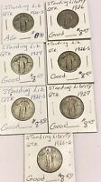 LOT OF 7 STANDING LIBERTY SILVER QUARTERS 90 SILVER COINS. HIGHER GRADES