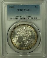 1886 MORGAN SILVER DOLLAR $1 COIN PCGS MINT STATE 63 RAINBOW TONED 23A
