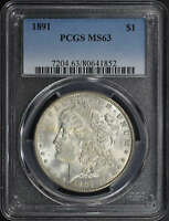 1891 VAM-2 DOUBLED EAR MORGAN SILVER DOLLAR PCGS MINT STATE 63 -159912
