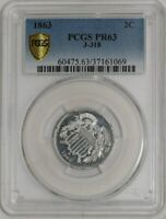 1863 2C PATTERN J-318 PR63 R.7 SECURE PLUS PCGS   941990-2