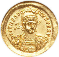 GOLD SOLIDUS THEODOSIUS II 402 450 ABOUT UNCIRCULATED BY NGC