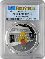 2019 P $1 TUVALU BART SIMPSON 1OZ 9999 SILVER PROOF COIN PCG