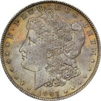 RAW 1897 BU MORGAN DOLLAR - BOLD MINT BAG TEXTILE TONING - ORIGINAL AND PQ