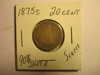 1875S US SEATED LIBERTY 90  SILVER 20 CENT COIN QUITE SCARCE