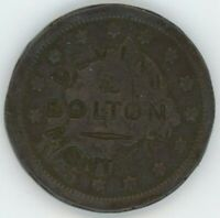 DEVINS & BOLTON COUNTERSTAMP ON USA 1845 LARGE CENT