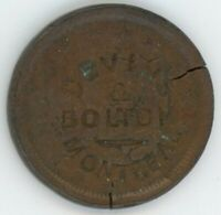 DEVINS & BOLTON COUNTERSTAMP ON USA 1853 LARGE CENT
