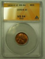 1930-S LINCOLN WHEAT CENT 1C ANACS MINT STATE 64 RED U WW