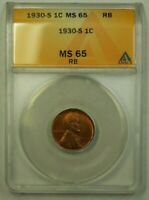 1930-S LINCOLN WHEAT CENT 1C ANACS MINT STATE 65 RB A WW