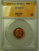 1930-S LINCOLN WHEAT CENT 1C ANACS MINT STATE 65 RED B WW