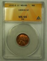 1930-S LINCOLN WHEAT CENT 1C ANACS MINT STATE 65 RB C WW