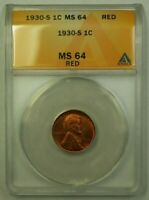 1930-S LINCOLN WHEAT CENT 1C ANACS MINT STATE 64 RED G WW