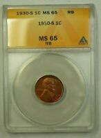 1930-S LINCOLN WHEAT CENT 1C ANACS MINT STATE 65 RB B WW