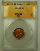 1930-S LINCOLN WHEAT CENT 1C ANACS MINT STATE 64 RED BETTER COIN WW