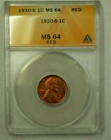 1930-S LINCOLN WHEAT CENT 1C ANACS MINT STATE 64 RED O WW