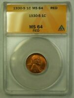 1930-S LINCOLN WHEAT CENT 1C ANACS MINT STATE 64 RED M WW