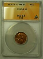 1930-S LINCOLN WHEAT CENT 1C ANACS MINT STATE 64 RED N WW