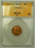 1930-S LINCOLN WHEAT CENT 1C ANACS MINT STATE 65 RB E WW