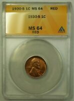 1930-S LINCOLN WHEAT CENT 1C ANACS MINT STATE 64 RED J WW