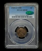 1909-S VDB PCGS EXTRA FINE 45 CAC LINCOLN WHEAT CENT [109DUD]