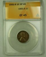 1931-S LINCOLN WHEAT CENT 1C ANACS EF-45 D WW