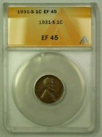 1931-S LINCOLN WHEAT CENT 1C ANACS EF-45 G WW