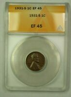1931-S LINCOLN WHEAT CENT 1C ANACS EF-45 H WW