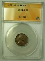 1931-S LINCOLN WHEAT CENT 1C ANACS EF-45 K WW