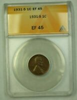 1931-S LINCOLN WHEAT CENT 1C ANACS EF-45 N WW