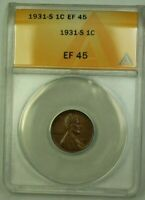 1931-S LINCOLN WHEAT CENT 1C ANACS EF-45 O WW