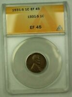 1931-S LINCOLN WHEAT CENT 1C ANACS EF-45 V WW