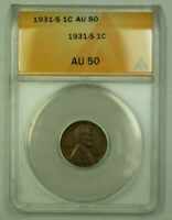 1931-S LINCOLN WHEAT CENT 1C ANACS AU-50 D WW
