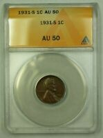 1931-S LINCOLN WHEAT CENT 1C ANACS AU-50 E WW