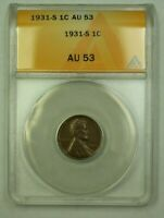 1931-S LINCOLN WHEAT CENT 1C ANACS AU-53 C WW