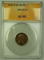 1931-S LINCOLN WHEAT CENT 1C ANACS AU-55 A WW