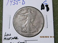 1935 D. 90  SILVER WALKING LIBERTY  U.S SHIPPING ONLY LOW MINTAGE 3,008,000