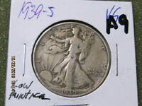 1939 S. 90  SILVER WALKING LIBERTY  U.S SHIPPING ONLY LOW MINTAGE 2,552,000