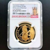 UK 2020 QUEENS BEAST GREAT BRITAIN WHITE LION 1OZ GOLD PROOF COIN NGC PF70UC ER