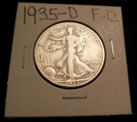 138 FINE LIBERTY SILVER HALF DOLLAR 1935 D F -12 WITH TONING