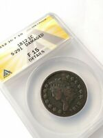 ANACS 1812 S291 F15 CLASSIC HEAD LARGE CENT, ONE COIN FROM RETIRED COIN DEALER
